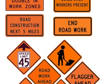 1:25 G scale model road work street construction signs