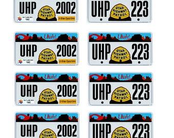 scale model Utah Highway Patrol police car license tag plates