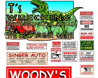 1:148 N scale Junk Yard Signs  poster salvage yard