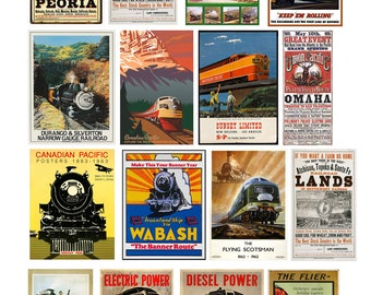 scale vintage train railroad signs posters set 2