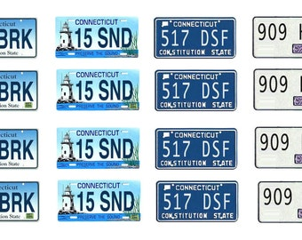 scale model car Connecticut license tag plates