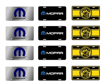 1:25 scale model Mopar Super Bee toy car license tag plates