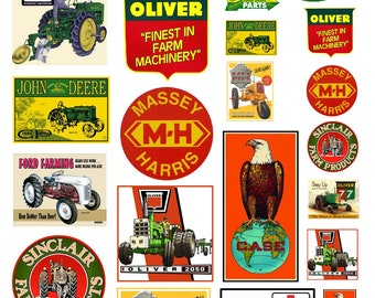 scale model farm equipment tractor signs