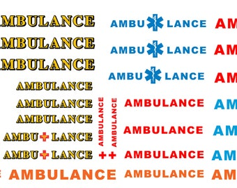 1:25 scale model ambulance decals