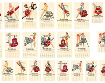 1:25 G scale model car auto shop garage pin up 1953 Rigid Tools calendar