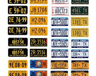 scale model car assorted USA license plates New York state tags  1/18 1/25 1/43 1/64