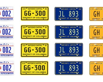 scale model car Washington DC  license tag plates District of Columbia