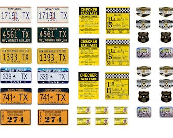 New York Taxi Cab license plates signs medallions
