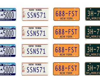 scale model car New York license tag plates