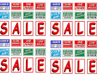 scale model used car lot sale signs