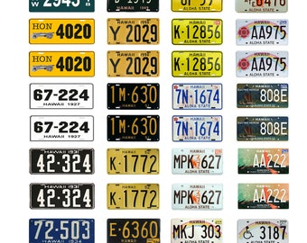 scale model car assorted USA license plates Hawaii state  tags 1/18 1/25 1/43 1/64