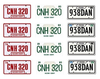 scale model car Doge Charger movie license tag plates set