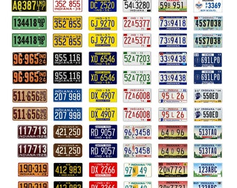 scale model car assorted USA license plates Indiana state tags  1/18 1/25 1/43 1/64