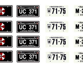 scale model car Resident Evil license tag plates set