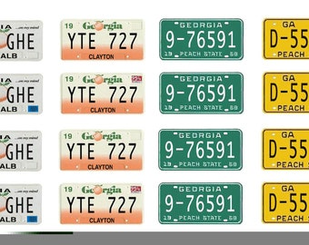 scale model car Georgia license tag plates