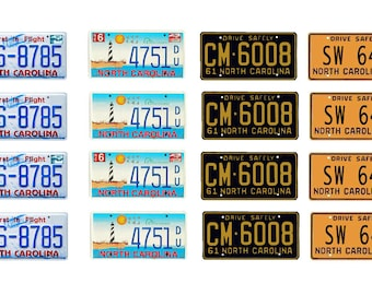 scale model North Carolina car license tag plates