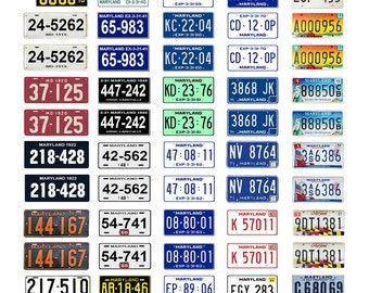 scale model car assorted USA license plates Maryland state tags  1/18 1/25 1/43 1/64
