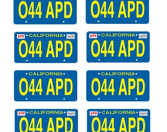 scale model Columbo license tag plates