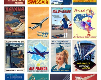 scale model airline travel posters