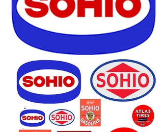 scale model Sohio gasoline station gas signs