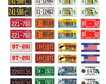 scale model car assorted USA license plates Florida state tags  1/18 1/25 1/43 1/64