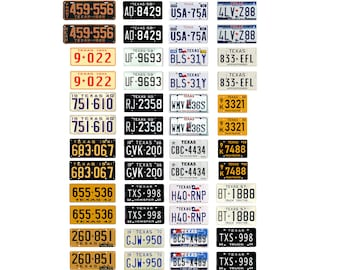 scale model car assorted USA license plates Texas state  tags 1/18 1/25 1/43 1/64