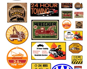scale model automobile towing service tow truck signs