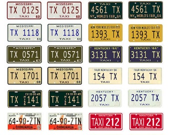 scale model taxi cab car license tag state plates