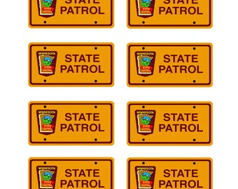 scale model Minnesota Highway Patrol police car license tag plates