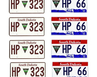 scale model South Dakota Highway Patrol police car license tag plates