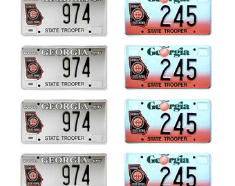 scale model Georgia State Police car license tag plates