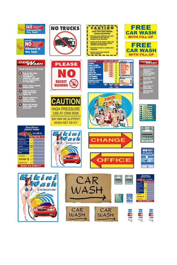 1 25 Car Wash Poster Signs Etsy