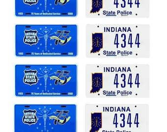 scale model Indiana State Police car license tag plates
