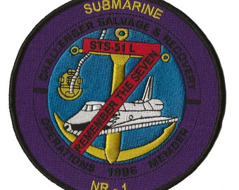 Submarine NR-1 NASA space shuttle Challenger recovery salvage patch