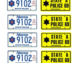 scale model Arkansas State Police car license tag plates