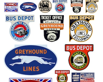 miniature scale model assorted vintage bus station signs