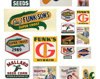 miniature scale vintage farm seed signs posters