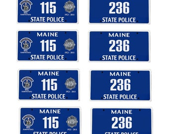 scale model Maine State Police car license tag plates