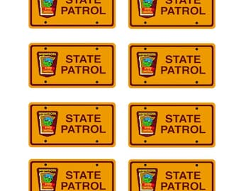 scale model Minnesota Highway Patrol police car license tag plates