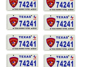 scale model Texas Highway Patrol police car license tag plates