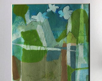 small painting, collage, mixed media, framed art, studiogreenwood, kim mullay, clouds, landscape