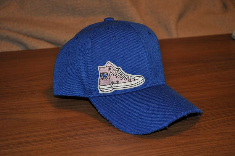 eef1c1a67cf Distressed Blue Baseball Hat Converse Patch Hat Unisex