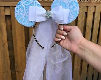 Handmade Mickey Ears, Mickey Ear Headband, Blue Mickey Ears, Lace Mickey Ears, Lace Minnie Ears, Lace Minnie Ear Headband