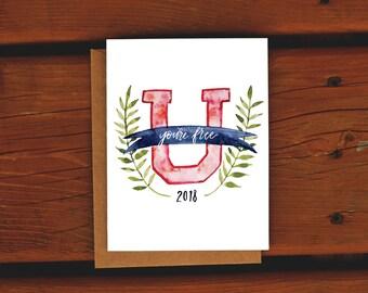 You're Free University Graduation Card | Watercolor Handpainted | College Grad Card | Graduation Greeting Card | Congratulations Grad