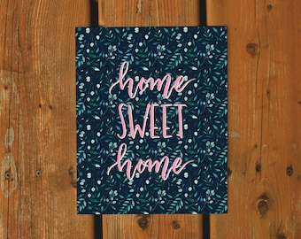 Wall Art Watercolor Print | Home Sweet Home | Watercolor Plants Foliage Nature Print | Navy Teal Home Decor Gallery Wall Living Room