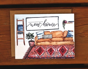 Housewarming Hand Painted Watercolor Card | New Home Apartment | Greeting Card | Trendy Nordic Rug Pattern Floral Foliage Cacti House Plant