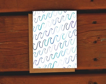 Watercolor Waves Nautical Notecard   Handpainted Blue Purple Stationery Mermaid Sympathy Card   Encouragement   Snail mail   Any Occasion