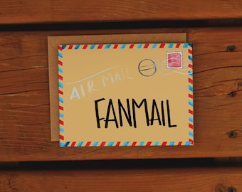 Fanmail   Airmail Postage Inspired   Handpainted Watercolor Card   Friendship & Love   No Reason Card   Snail mail   Penpal   Handmade Card
