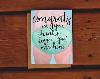 Chunky Leg Fart Machine Baby Card | Handpainted Watercolor Card | Funny Baby Card | Baby Shower | Congrats | New Parents Card | Turquoise