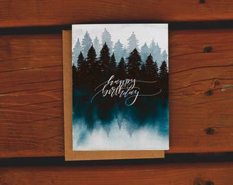 Handpainted Watercolor Forest Birthday Card | Northern Cottage Lake | Handlettered | Watercolor Greeting Card | Happy Birthday Card